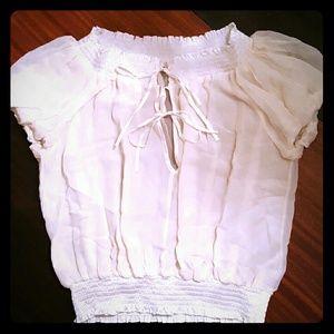 bebe Silk Peasant Inspired Top